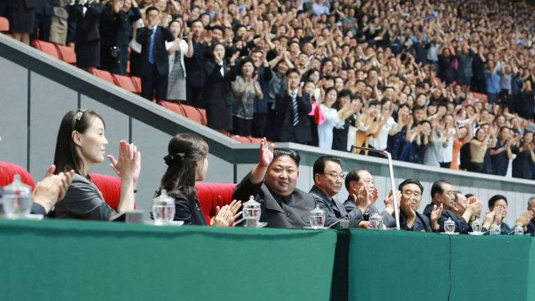 She appeared at the mass games in Pyongyang