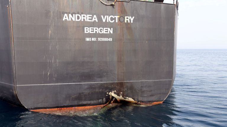 Damaged Norwegian tanker Andrea Victory off the Port of Fujairah in the UAE