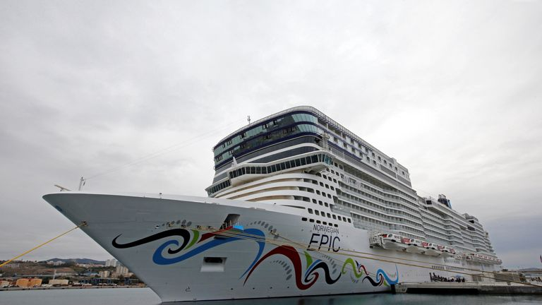 The Norwegian Epic cruise ship is moored at the cruise terminal in Marseille, France