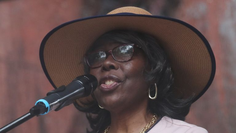 """Voletta Wallace, mother of slain rapper Christopher """"Notorious B.I.G"""" Wallace speaks at the street naming ceremony for Christopher """"Notorious B.I.G"""" Wallace way in the Brooklyn borough of New York, U.S., June 10, 2019. REUTERS/Shannon Stapleton"""