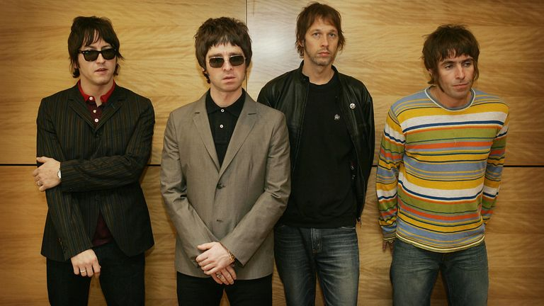 From L-R Oasis band members Gem, Noel Gallagher, Andy Bell and Liam Gallagher in Hong Kong, China, in 2006