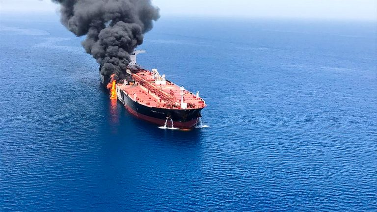 UK blames Iran for Gulf of Oman tanker attacks