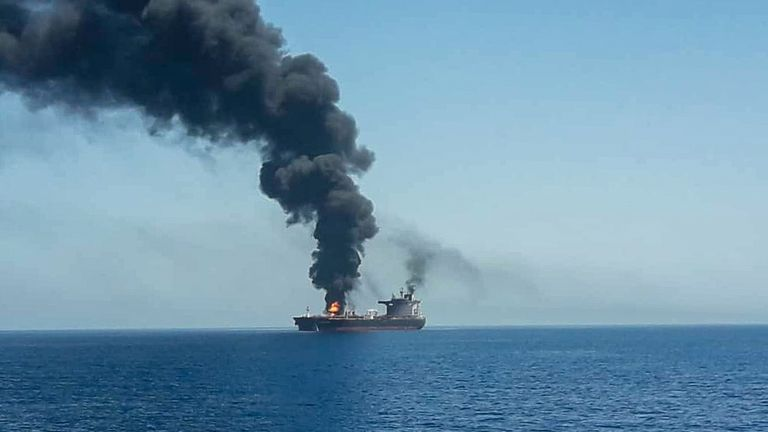 An oil tanker after it was attacked at the Gulf of Oman