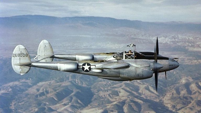 The P38 Lightning was one of the main US fighter planes used in the Second World War