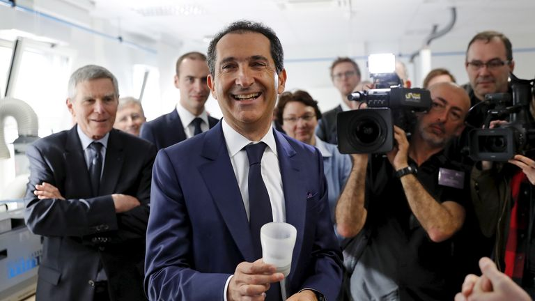 Franco-Israeli businessman Patrick Drahi (C), Executive Chairman of cable and mobile telecoms company Altice, attends the inauguration of the Drahi-X Novation Center, dedicated to entrepreneurship and innovation, at the Ecole Polytechnique at the Saclay Paris-Sud University in Orsay, France, April 19, 2016