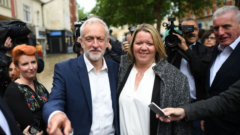 Jeremy Corbyn celebrates with newly elected labour MP Lisa Forbes at Cathedral Square, Peterborough