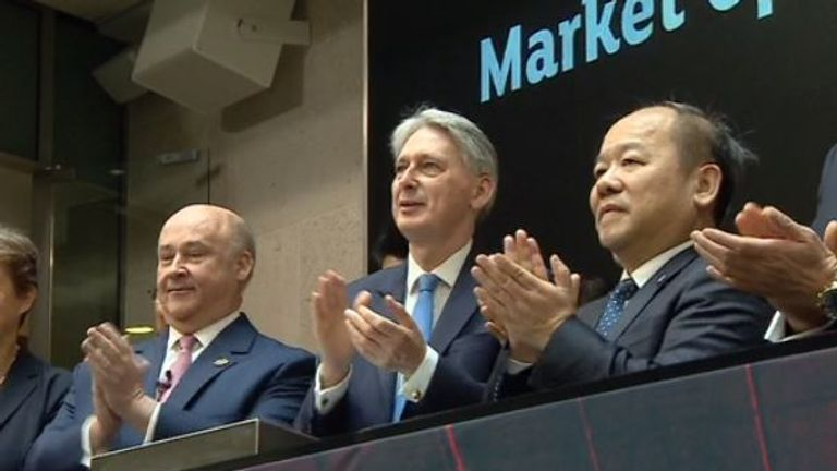 Phillip Hammond attends the launch of the London-Shanghai Stock Connect service