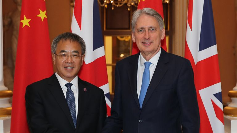 Mr Hammond and Mr Chunhua celebrated the linking of the London and Shanghai stock exchanges