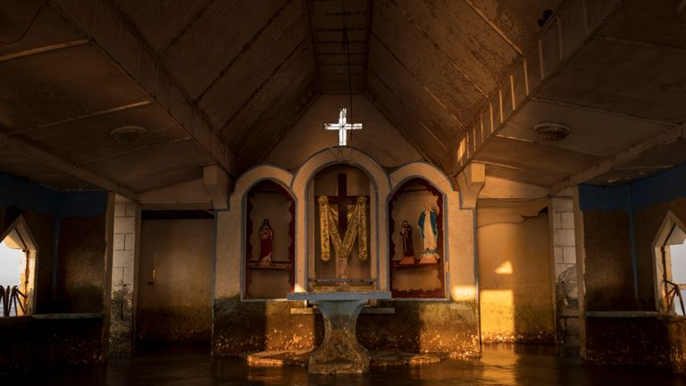 A flooded church near Manila, in the Philippines, where coastal areas are affected by rising sea levels