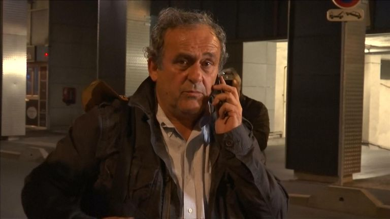 Michel Platini was released on Tuesday night