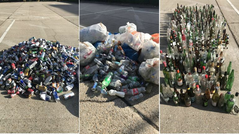 The team picked up more than 1,500 bottles (glass and plastic), and almost 1,000 cans. Credit: Plogolution