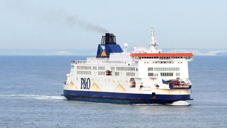 A view of a P&O company ferry as it navigates in the port of Calais
