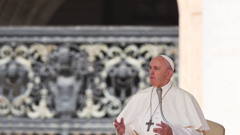 Pope Francis speaks during the weekly general audience on June 5, 2019 at St. Peter's square in the Vatican. (Photo by Vincenzo PINTO / AFP) (Photo credit should read VINCENZO PINTO/AFP/Getty Images)