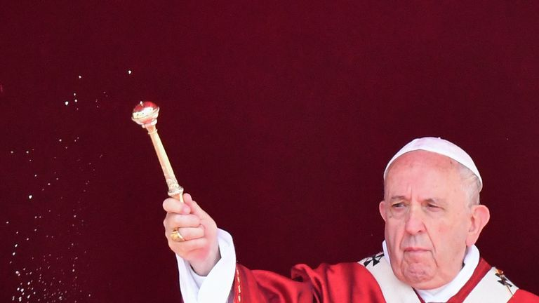 Pope Francis celebrates the Pentecost mass