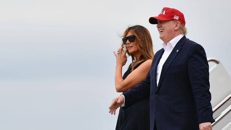 President Trump and wife Melania arrive at Andrews Air Force Base in Maryland on Friday