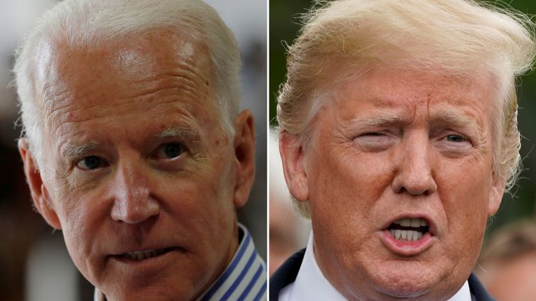 Joe Biden and President Trump are facing off in different speeches in Iowa tonight