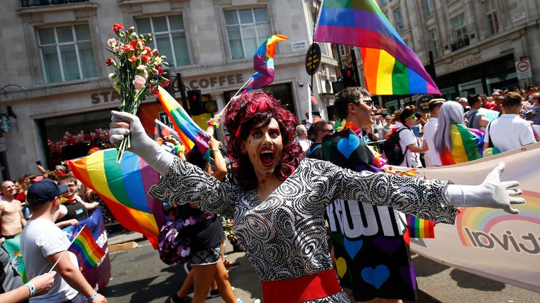 A participant takes part in the annual Pride in London parade, in London, Britain July 7, 2018. REUTERS/Henry Nicholls
