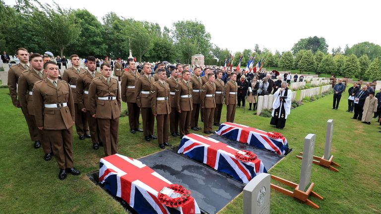 The coffins of two young privates and an unknown soldier, who fought during World War One, during a burial service at Hermies Hill British Cemetery near Albert, France. Wednesday June 12, 2019. Private Henry Wallington, 20, Private Frank Mead, 23, and an unknown soldier all served with the 23rd Battalion and were killed during the Battle of Cambrai. The remains of the three soldiers were found in February 2016 during drainage works in the garden of a house