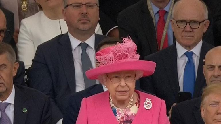 The Queen delivers her address to the D-Day 75 commemorations in Portsmouth