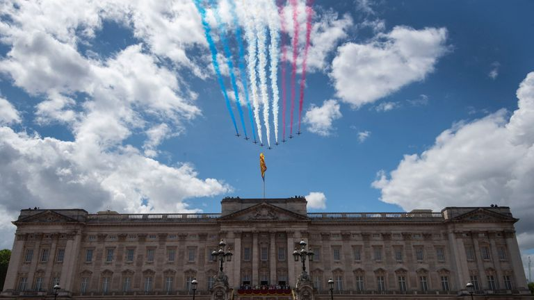The Red Arrows were the final part of the fly-past