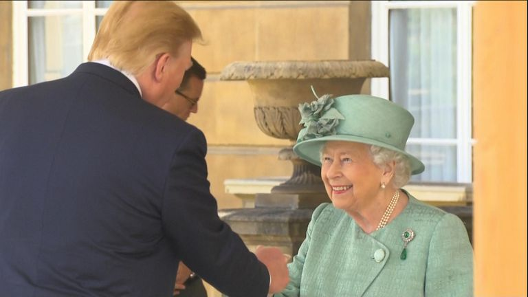 The Queen and Donald Trump meet