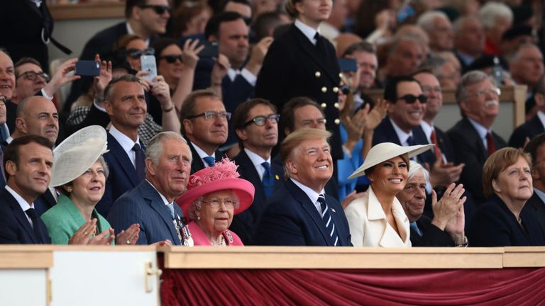 The Queen and Prince Charles watch the flypast with Donald Trump and the first lady