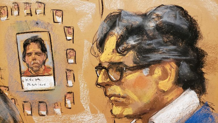 A court sketch of Raniere facing trial in Brooklyn