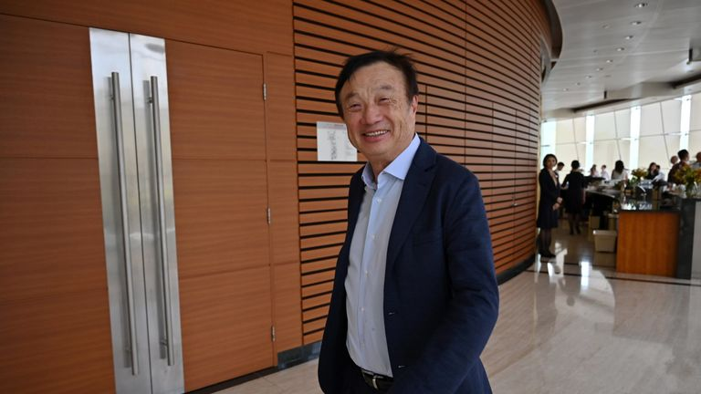 Ren Zhengfei leaves the meeting at the company's Shenzhen headquarters