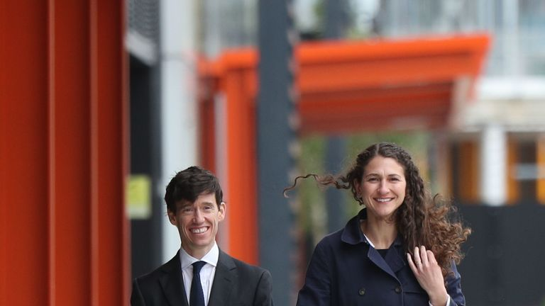 Rory Stewart arriving for the debate with his wife Shoshana