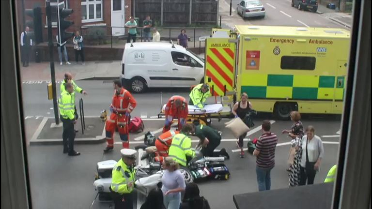 The scene of the collision in Richmond, southwest London
