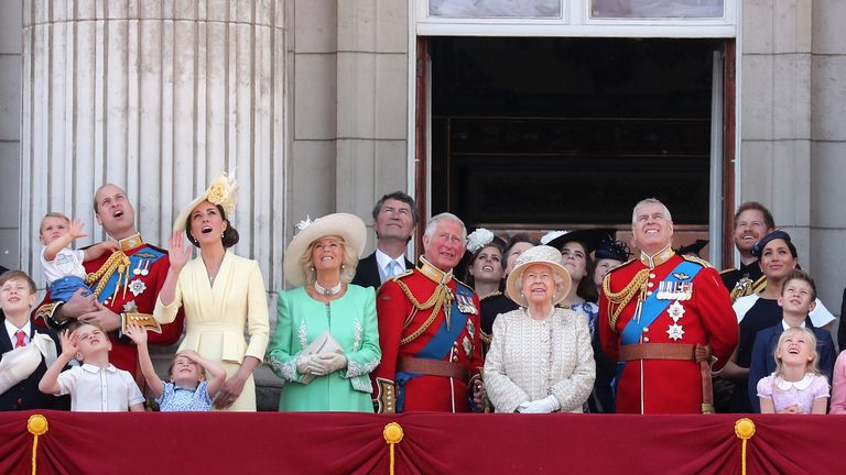 Prince William, Duke of Cambridge, Catherine, Duchess of Cambridge, Prince Louis of Cambridge, Prince George of Cambridge and Princess Charlotte of Cambridge during Trooping The Colour, the Queen's annual birthday parade, on June 8, 2019 in London