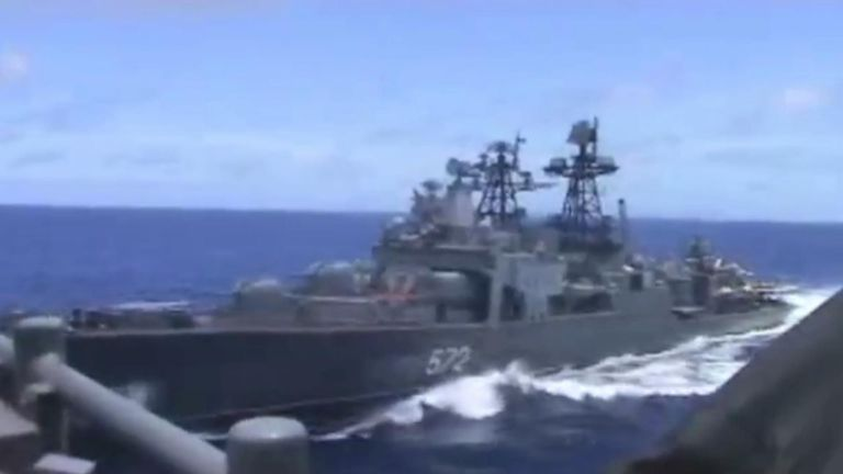 "A Russian destroyer almost collided with a US guided missile cruiser in the Philippine Sea in an incident Washington has described as ""unsafe and unprofessional""."