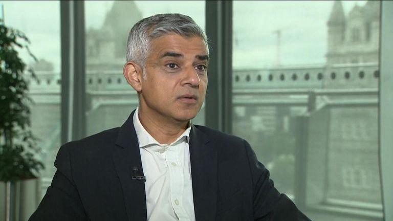 Mayor of London, Sadiq Khan, talking to Sky NEWS.