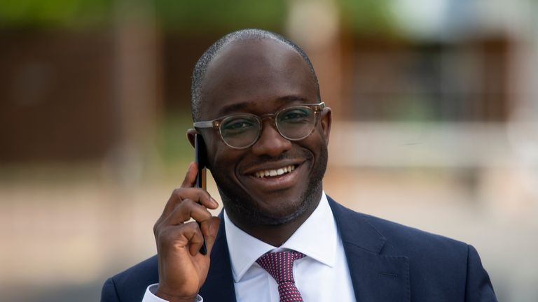 Conservative former minister Sam Gyimah who has become the 13th MP to throw their hat into the race to replace Theresa May as party leader, leaves the Sky studios in Osterley, west London