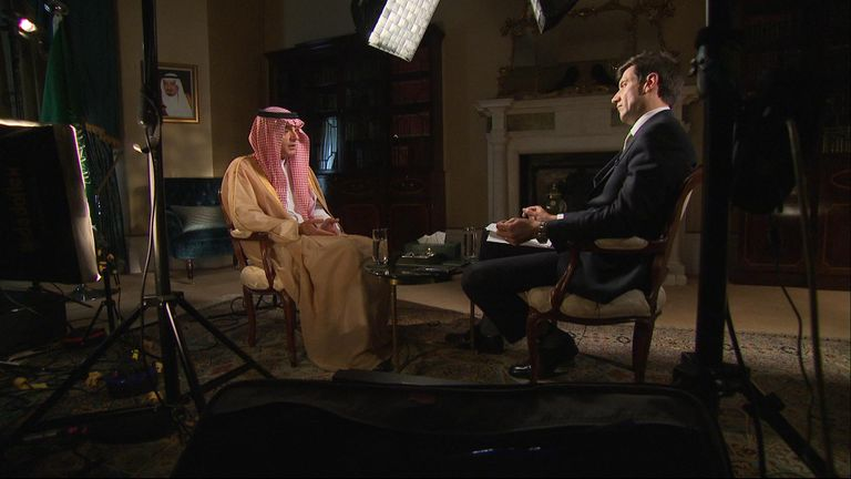 "Saudi foreign minister Adel al-Jubeir has told Sky News the Saudi government wants to ""avoid war at all costs"" with Iran."