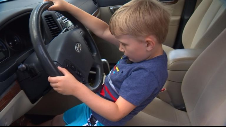 The young boy is barely able to see over the wheel. PIC: Fox News