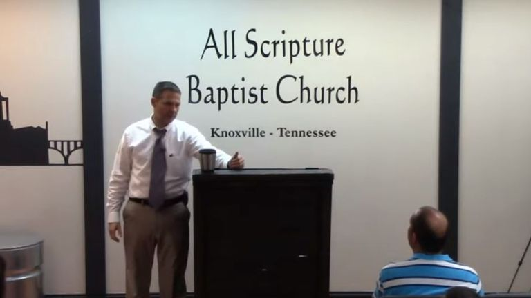 Detective Fritts delivering a sermon at his church. Pic: Youtube/ All Scripture Baptist Church