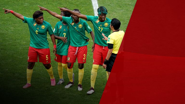 The referee faced dissent from Cameroon players
