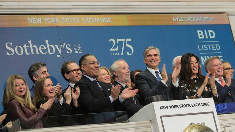 Sotheby's Chairman Domenico De Sole and CEO Tad Smith ring the opening bell in celebration of Sotheby's 275th anniversary at the New York Stock Exchange (NYSE) in New York, U.S., March 11, 2019.