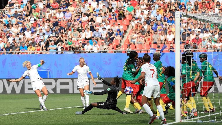 Steph Houghton scores the first of three England goals