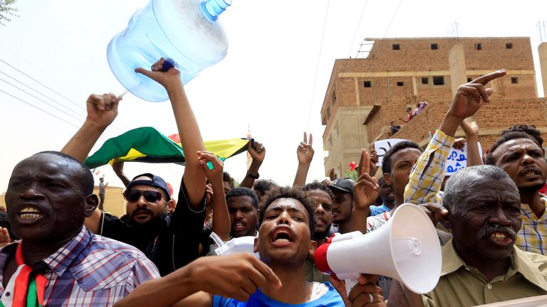 Tens of thousands of protesters marched through Khartoum against military rule