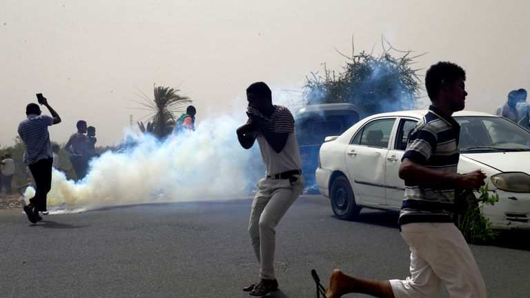 Authorities fired tear gas to disperse protesters