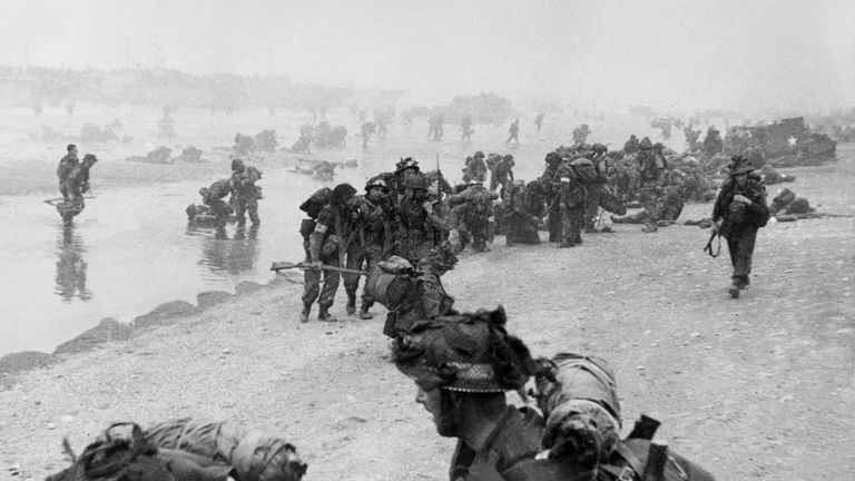 Sword beach during D-Day
