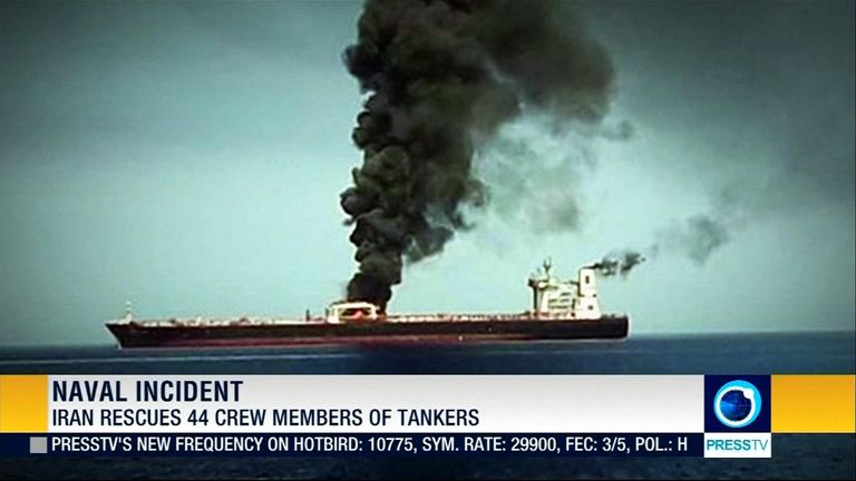 Smoke billows from one of the tankers. Pic: Press TV