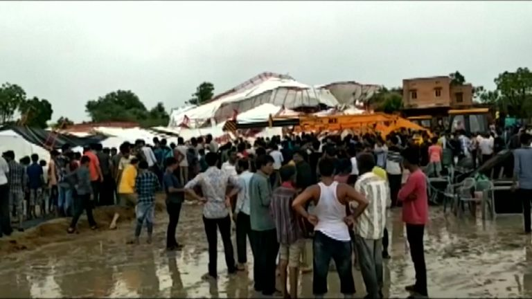 The tent collapsed in Rajasthan in western India