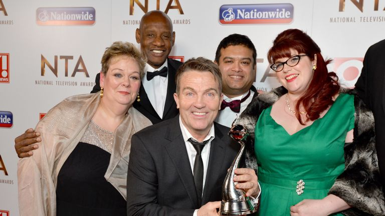 Paul Sinha with the cast of The Chase