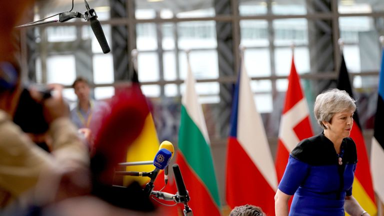 Theresa May at EU summit in Brussels