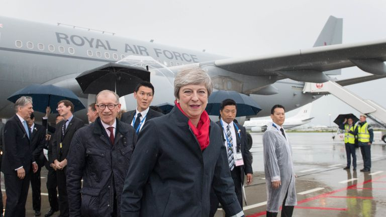 Theresa May arrives in Japan for her last G20 summit as Prime Minister