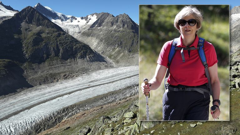 Mrs May said she saw the retreat of glaciers on her walking holidays to Switzerland