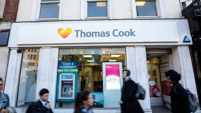 A branch of Thomas Cook travel agents
